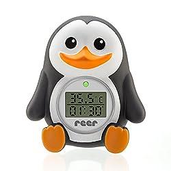 """reer 24041 Digitales Badethermometer 2in1 """"MyHappyPingu"""", grau"""