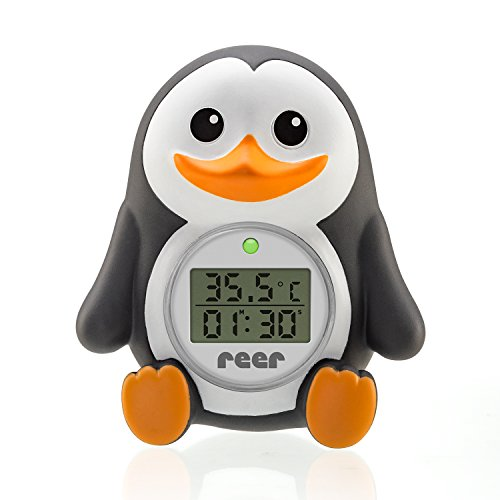 reer Digitales Bade-Thermometer 'MyHappyPingu', 2in1 Bade- und Raumthermometer, Timer-Funktion und Temperaturalarm