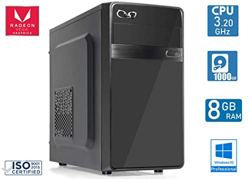 - CEO Alpha V1 - Unitè Centrale de Bureau AMD 200GE 3.20GHz 4Mo Cache | 8Go Ram DDR4 | 1To Hard Disk |Carte Graphique Radeon Vega 3 | HDMI/VGA Full HD | USB 3.0 | Windows 10 Pro