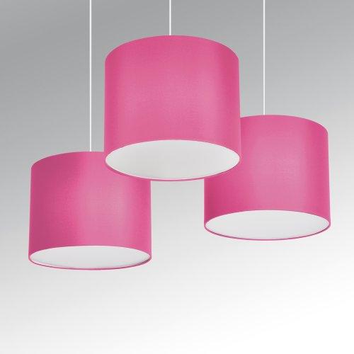 § §-Set di 3sospensioni/lampadari-3x Tamburo Rosa, Fucsia, fodera in bianco. venduto con 3x attacco bianco per una perfetta resa. Cavi elettrici compreso