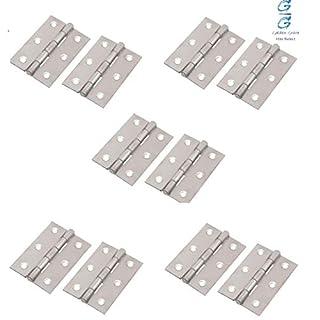 5 Pairs 75mm Butt Hinges for Internal Doors, 75mm (3 Inch) Timber Door Hinge, Chrome Silver Butt Door Hinge - Golden Grace
