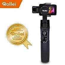 Rollei Actioncam Gimbal Steady Butler Action - 3 Achsen Schwebestativ (Stabilisator/Steadycam) für Actioncams mit integrierter Power Bank und App mit vielen Funktionen, passend für GoPro Hero