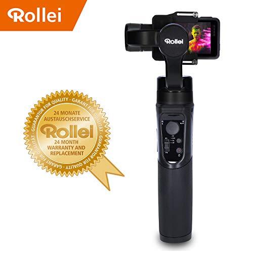 Rollei Actioncam Gimbal Steady Butler Action -3 Achsen Schwebestativ (Stabilisator/Steadycam) für Actioncams mit integrierter Power Bank und App mit vielen Funktionen, passend für GoPro Hero