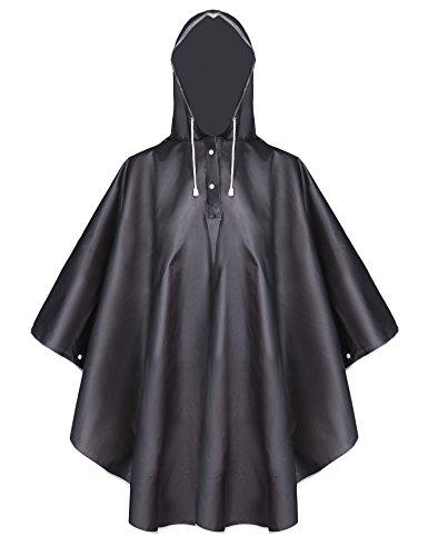Aibrou Damen Transparent Regenponcho Regenjacke aus Eva Wasserdichte Trenchcoat Parka Regenkleidung Regencape Schwarz