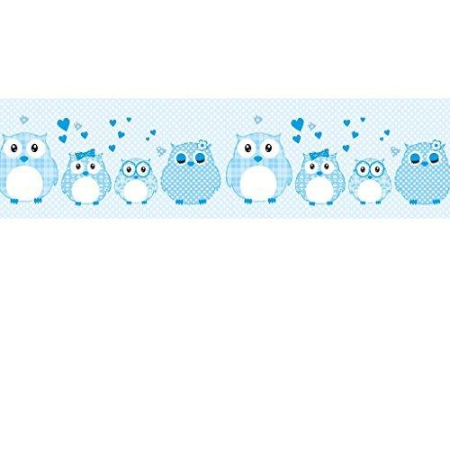 Vlies Bordüre selbstklebend fürs Kinderzimmer Wandtattoo Patchworkeulen blau