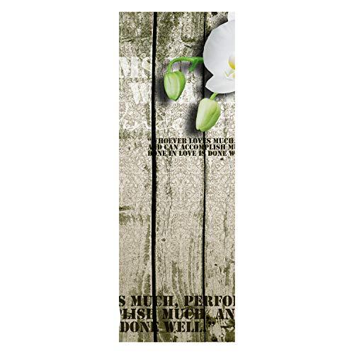 wandmotiv24 Türtapete Holz Zaun weiße Orchidee 70 x 200cm (B x H) - Vlies Tapete, Tür-Aufkleber, Türbild, Wandbild M0539