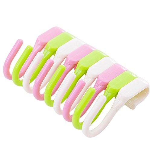Furnido Aufhängehaken von Kleidung, Handtuch, Tasche, Kleiderbügel, aus Kunststoff, S-Form, tragbar, klein, geeignet für die Küche / Badezimmer, 10Stück weiß