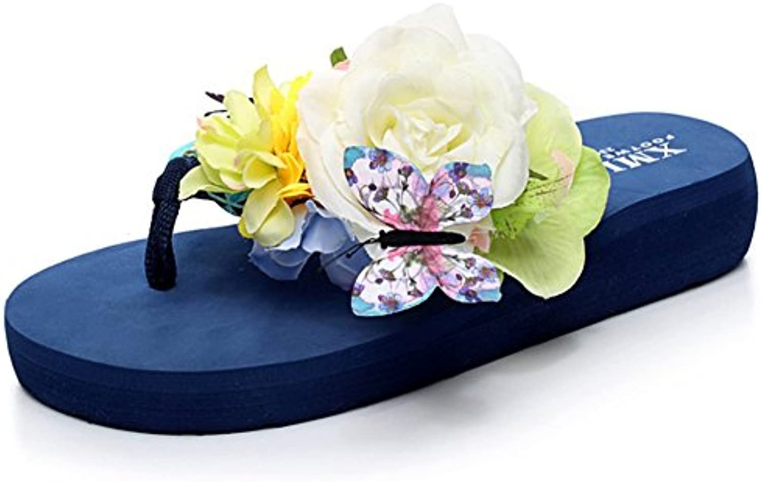 Sandals Summer Flip Flop Flop Flip Women Seaside Holiday Flowers Thick Bottom Muffin Slippers,Blue,42 0c5341