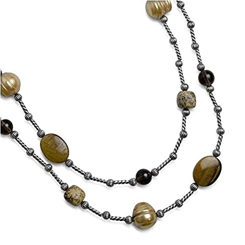 Carolyn Pollack Sterling Silver Smoky Quartz Freshwater Cultured Pearls Tiger's Eye Picture Jasper Beaded Necklace