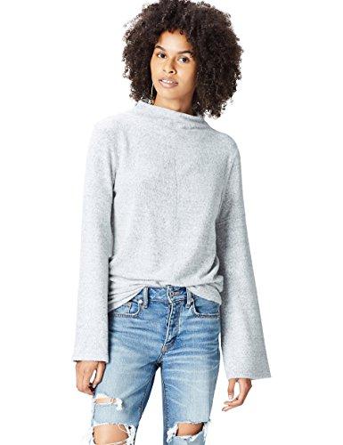 find. Pullover Damen meliert mit Stehkragen, Trompetenärmeln und mittiger Naht, Grau (Grey Marl), 40 (Herstellergröße: Large)