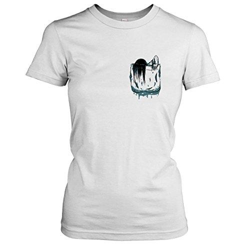 Ringu Kostüm (TEXLAB - Brusttasche Ring - Damen T-Shirt, Größe XL,)