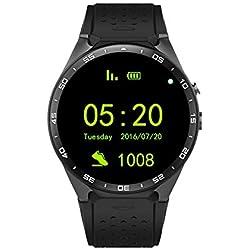 Dispositivo King-Wear KW88 SmartWatch Podómetro de Ritmo cardíaco Anti-perdida para Android 5.1 OS Soporte WiFi Negro Empañar/Oro Negro