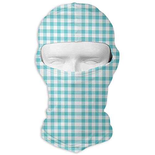 angwenkuanku Gingham Aqua Fabric Balaclava Face Mask Breathable Outdoor Sports Motorcycle Cycling Snowboard Hunting Ski New6 -
