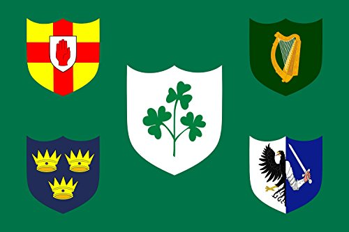 DIPLOMAT Flagge IRFU | IRFU flag first made public in 1925, comprised of the traditional four provinces of Ireland shields and other older elements | Querformat Fahne | 0.06m² | 20x30cm für Diplom