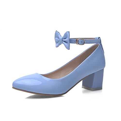 VogueZone009 Donna Pelle Di Maiale Puro Fibbia Scarpe A Punta Punta Chiusa Tacco Medio Ballerine Azzurro