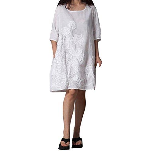 AMUSTER Kleider Damen Frauen Mode Kurze Ärmel Weinlese Baumwollleinen Lose  Rundhals Kleider mit Taschen Leinenkleid Damen Tunika T Shirt Kleid  Baumwolle ... bfa0bf3f8a
