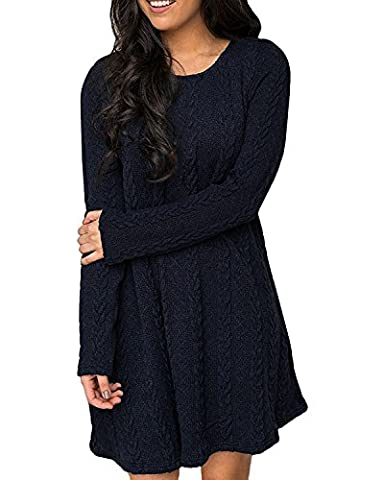 ZANZEA Femme Sweater Tricot Lâce Manche longue Haut Pull Mini-robe Cardigan Sweats (EU 48/ US 16 UK 20, Marine 519978)
