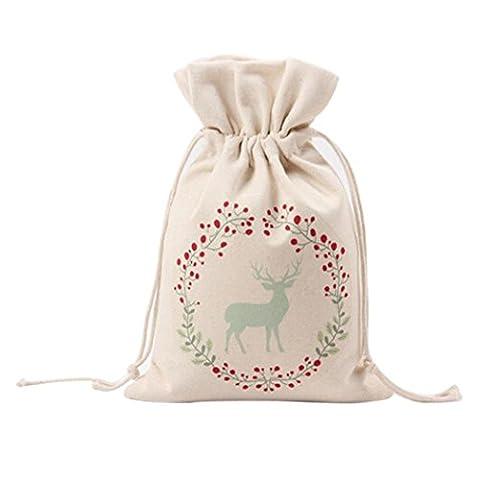 Transer Christams Unisex Canvas Drawstring Shoulder Bag,Santa Claus/Christmas Tree/Elk /Letter