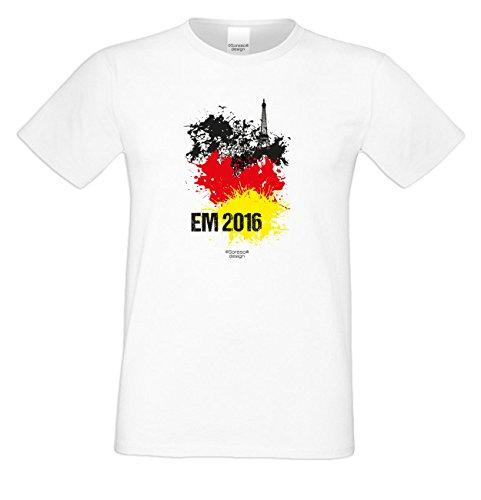 Das Fun T-Shirt zur Fußball EM 2016 in Frankreich Fußball EM 2016 Public Viewing Party Outfit Farbe: weiss Weiß