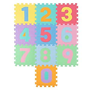 Hey!Play! Foam# Crawling Mat- Nontoxic Eva Soft Mat for Learning 0-9 Numbers & Counting for Babies & Toddlers with 10 Colorful Squares