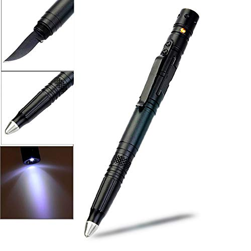 LIANA IRIWIN Multifunktional Aluminium taktischer Stift mit Wolframstahl glasbrecher,LED Mini-Taschenlampe,Brieföffner,Kugelschreiber -Selbstschutz Emergency Tools (Schwarz)
