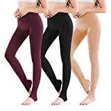 Vertvie 1/3/5er Pack Damen Thermo Strumpfhose Leggings mit Innenfleece für Herbst Winter Super Strech Warm Blickdichte Leggins (Schwarz + Hautfarbe + Weinrot, one Size)