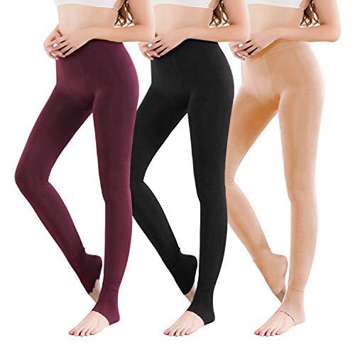 Vertvie 1/3/5er Pack Damen Thermo Strumpfhose Leggings mit Innenfleece für Herbst Winter Super Strech Warm Blickdichte Leggins (Schwarz + Hautfarbe + Weinrot, one Size) -