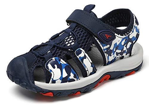 XIANV Geschlossene Sandalen Jungen Mädchen Outdoor Sport Trekking Wander Sommer Schuhe für Kinder Klettverschluss Camouflage Schuhe (30 EU=19.2 cm Innere Länge, Blau)