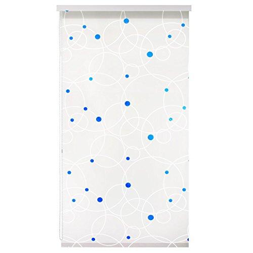 casa pura Design Duschrollo Kreise | viele Größen | schnelltrocknend | Deckenbefestigung mit Halbkassette | halbtransparent, Blaue Punkte | 160x240cm (BxL)