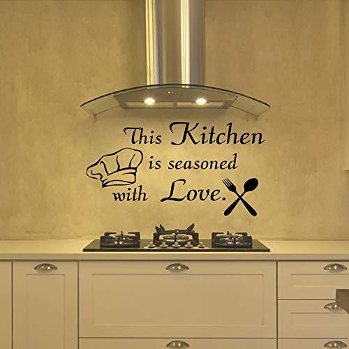 yiyiyaya Diese Küche ist mit Liebe Besteck und Kochmütze Küche Wandaufkleber Removable Home Decor Wand Vinyl 56 * 30cm gewürzt
