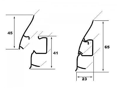 20 Meter PVC Sockelleisten Modern, Fußleisten, Kabelkanal, Sockel 23x65mm, 8607 von Lemal bei TapetenShop
