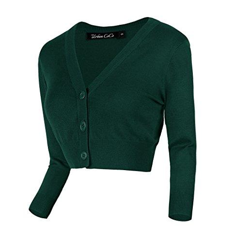Urban GoCo Damen V-Ausschnitt Kurz-Strickweste Strickjacke (M, dunkelgrün) -