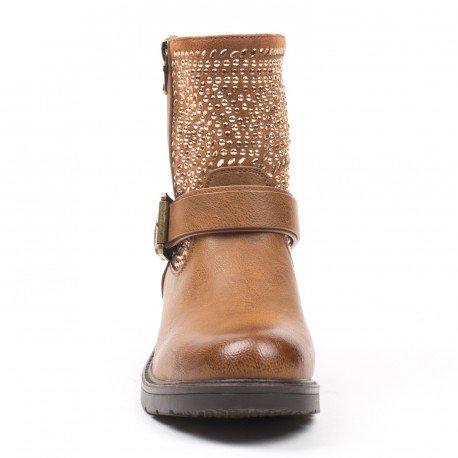 Ideal Shoes - Bottines montantes ornées de strass et de clous Pamina Camel