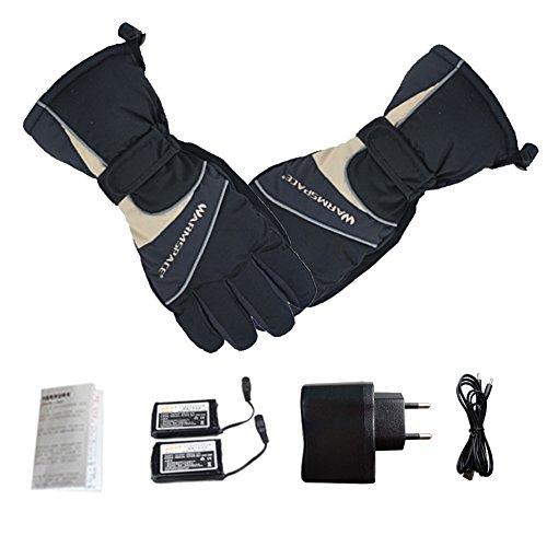 Per Gants Rechargéable Chauffants Batterie Gants Hiver Moto Chaud Imperméable Coupe-Vent Coton Homme Femme (Noir)
