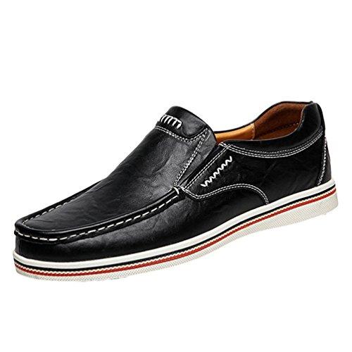 Dooxi uomo elegante piatto mocassini scarpe casuale scivolare loafers scarpe da barca nero 40