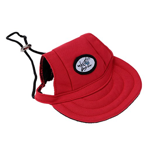 Generic Small Pet Dog Cat Kitten Baseball Hat Neck Strap Cap Sunbonnet M Red