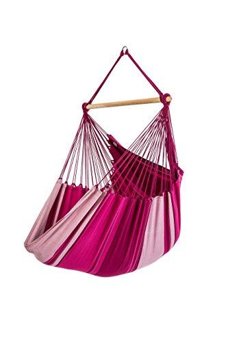 Chaise-hamac XL, 100% coton, 130 x 200 cm, charge max. 150 kg, traverse 120 cm, incl. crochet spécial + ressort de torsion, rose