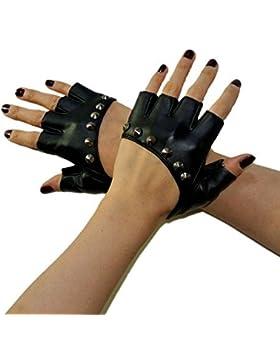 Las mujeres de piel con tachuelas Punk guantes sin dedos guantes de equitación ciclismo rendimiento guantes