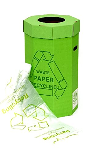 Acorn Green Paper Recycling Bin for Recycling Waste Capacity 60 Litres 360mm x 677mm Ref 402565 ([Pack of 5)