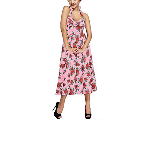PU&PU Femmes Occasionnels / Sorties Vintage Rose Impression Robe sans manches Swing, taille haute Open Back pink