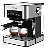 Coffee Machine Espresso Machine Coffee Maker Touch Screen Espresso Maker with Milk Frother & 15 Bar Pressure Pump 2 Cups (Silver) (Silver)