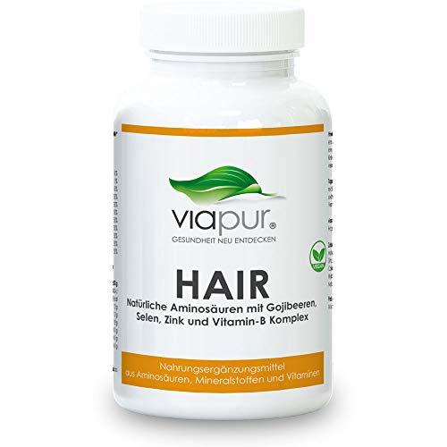 viapur® HAIR - pflegt das Haar an der Wurzel - Natürliches Mittel für die Haare mit 120 Kapseln für 1 Monat. 100% pure Aminosäuren, Mineralstoffe und Vitamine