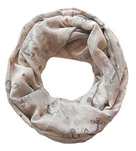 Damen Loop Schal Anita, großes Schlauchtuch mit Anker Motiv in grau