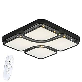 SAILUN 36W Dimmbar LED Modern Deckenlampe IP44 Deckenleuchte Quadrat Energiespar Wohnzimmer Schlafzimmer Korridor Acryl-Schirm lackierte Rahmen Durchbohrte Design 430*430*60mm Schwarz (36W Dimmbar)