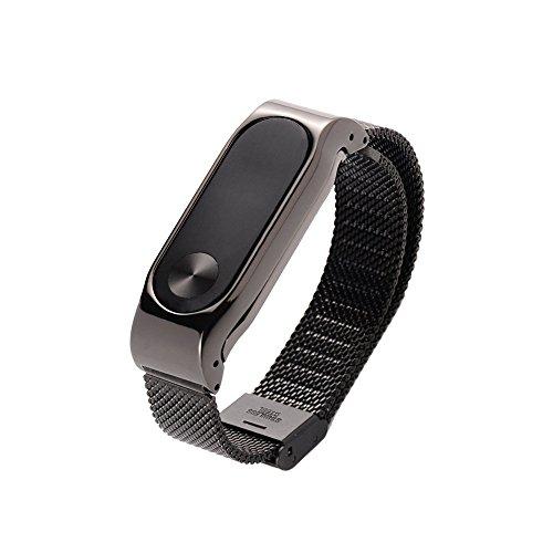Ollivan Metall-Armband, Ersatz-Armband für Xiaomi Mi Band 2, Schwarz, Metal