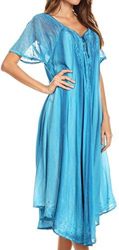 Sakkas Myani Two Tone Sheer mit Flügelärmeln Kaftan langes Kleid bestickt | Aufdecken turq