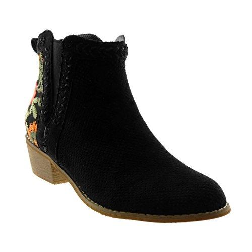 Pattino Indian Stivali Blocco Boots Cm Fiori Nero Tallone Di Ricamati Donne Boot Perforato Angkorly Modo 4 Chelsea CtqFBt