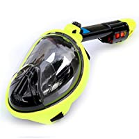 Wgw Full Face Snorkeling Masks, Panoramic View Anti-Fog Anti-Leak with Detachable Sports Camera Mount, for Adults And Youth,F,L/XL