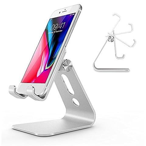 OMOTON Support Multi-angles Réglable en Alliage d'aluminium, Support Téléphone Portable pour iPhone SE/ 7 Plus/ 7/ 6 Plus/ 6S/ Samsung Galaxy Note 8/ Samsung Galaxy S8/ S8 Plus/ Honor 9, Argenté