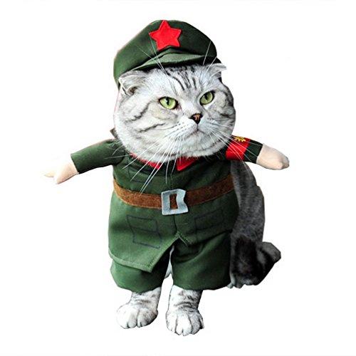 Kostüm Military Coat mit Hat Alle Jahreszeiten grün, für kleine Hund Katze Puppy (Funny Halloween-kostüme-superhelden)
